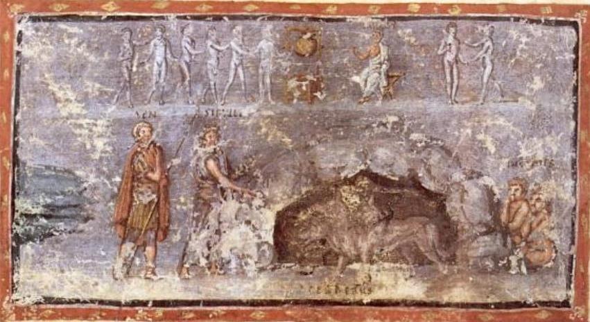 Vergilius_Vaticanus_-_La_Sibylle_et_Énée_aux_enfers_avec_Cerbère