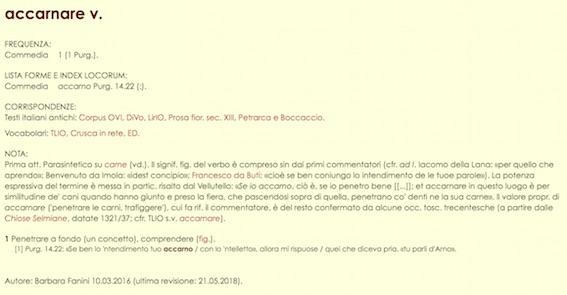 Accarnare_Vocabolario_Dantesco